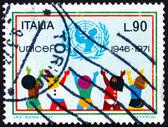 Emblemat znaczek włochy 1971 unicef i dzieci — Zdjęcie stockowe