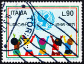 Postage stamp Italy 1971 UNICEF Emblem and Children — Zdjęcie stockowe