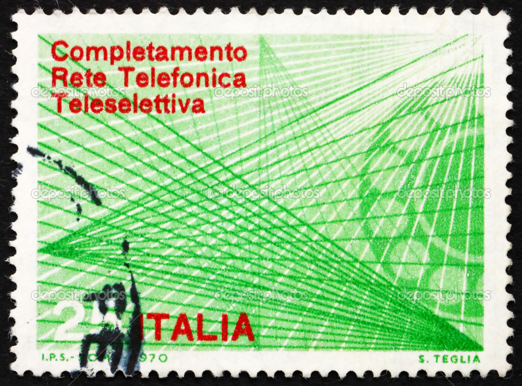 ITALY - CIRCA 1970: a stamp printed in the Italy shows Telephone Dial and Trunk Lines, Completion of the Automatic Trunk Telephone Dialing System, circa 1970 — Stock Photo #10037160