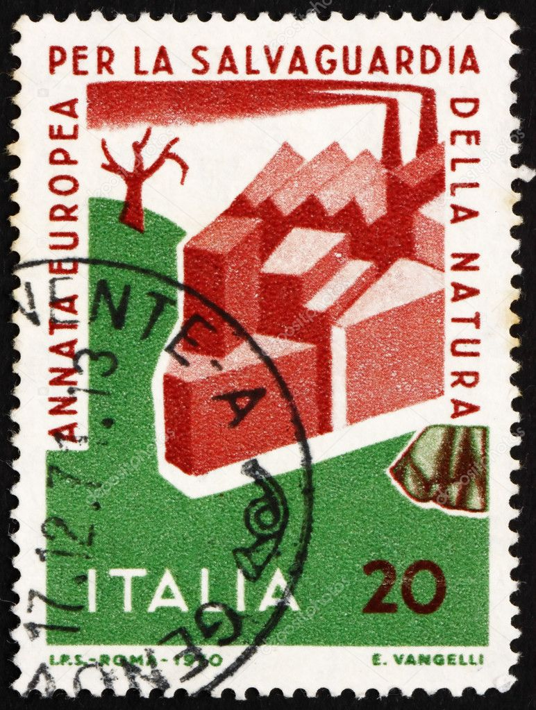 ITALY - CIRCA 1970: a stamp printed in the Italy shows Man Damaging Nature, European Nature Conservation Year, circa 1970  Stock Photo #10037262