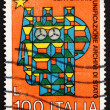 Stock Photo: Postage stamp Italy 1975 Stylized SyracuseItalia