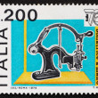 Postage stamp Italy 1976 Hand Canceler, 19th Century - Stock Photo