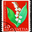 Postage stamp Switzerland 1961 Lily of the valley, Convallaria M — Stock fotografie