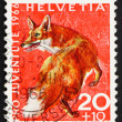 Stock Photo: Postage stamp Switzerland 1966 Red Fox, Vulpes Vulpes