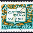 Foto Stock: Postage stamp Italy 1958 Book and Symbols of Labor Industry and