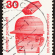 Stock Photo: Postage stamp Germany 1972 Safety Helmets Prevent Injury, Accide
