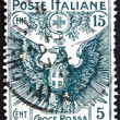 Postage stamp Italy 1915 Italian Eagle Bearing Arms of Savoy — Stock Photo