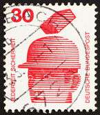 Postage stamp Germany 1972 Safety Helmets Prevent Injury, Accide — Stock Photo