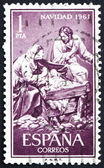 Postage stamp Spain 1961 Nativity, Sculptured by Jose Gines — Stock Photo