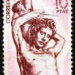 Postage stamp Spain 1962 St. Sebastian, Sculpture by Alonso Berr - ストック写真