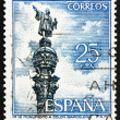 Postage stamp Spain 1965 Christopher Columbus Monument, Barcelon - Stock Photo