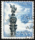 Postage stamp Spain 1965 Christopher Columbus Monument, Barcelon — Stock Photo