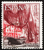 Postage stamp Spain 1965 Boats and Nets in Cudillero Harbor, Ast — Stock Photo