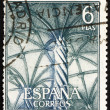 Postage stamp Spain 1965 Interior of Silk Merchants' Hall, Lonja - Stock Photo