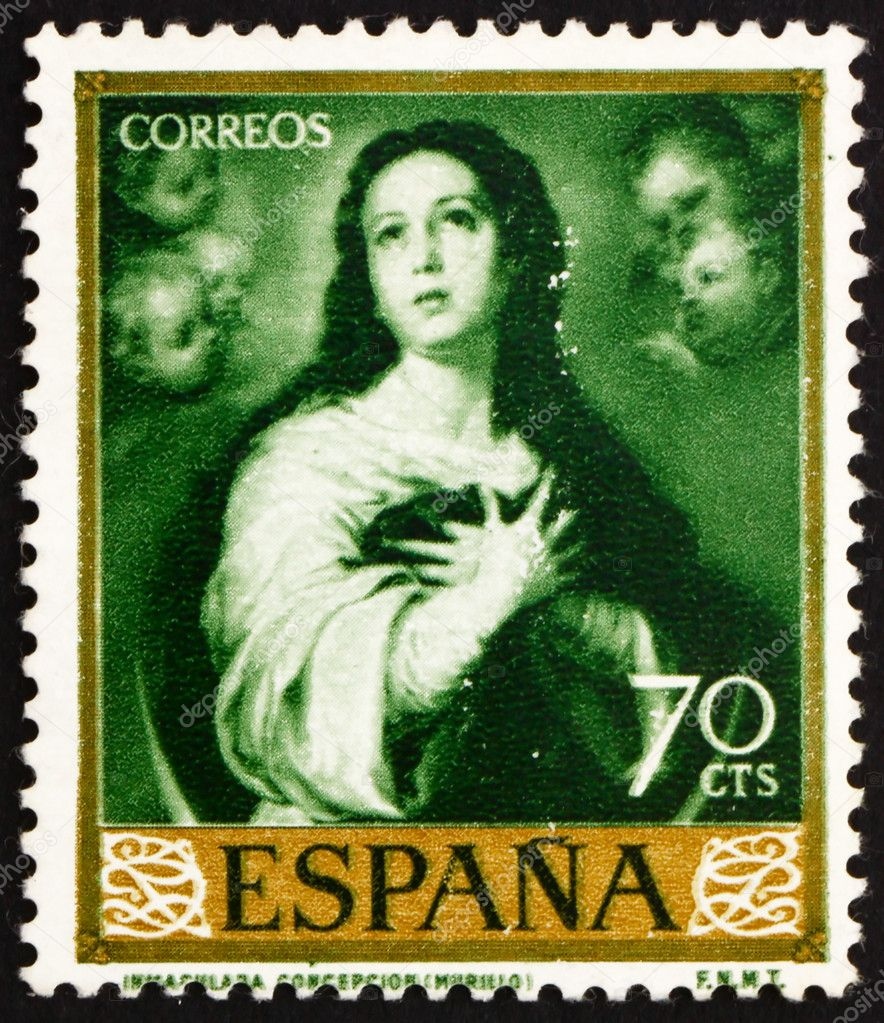 SPAIN - CIRCA 1960: a stamp printed in the Spain shows Immaculate Conception, Painting by Murillo, circa 1960 — Stock Photo #10237282