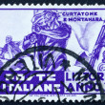 Постер, плакат: Postage stamp Italy 1935 Standard Bearer Bayonet Attack