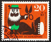Postage stamp Germany 1960 Forester and the Wolf, Scene from Lit — Stock Photo