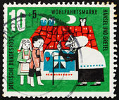 Postage stamp Germany 1961 Hansel, Gretel and Witch, Scene from — Stock Photo