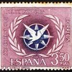 Postage stamp Spain 1967 Emblem of International Tourist Year — Stock Photo