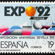 Postage stamp Spain 1987 Earth, Moon's surface, EXPO '92 Sev — Stock Photo