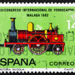 Stock Photo: Postage stamp Spain 1982 Locomotive from 1850