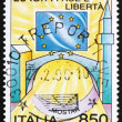 Postage stamp Italy 1995 Stars of European Flag, Church and Mosq — Stock Photo
