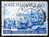 Postage stamp Italy 1960 Volunteers embarking, Quarto, Genoa — Stock Photo