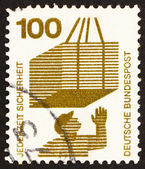 Postage stamp Germany 1973 Hoisted Cargo, Accident Prevention — Stock Photo