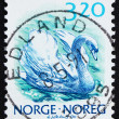 Postage stamp Norway 1990 Mute swan, Cygnus Olor - Stock Photo