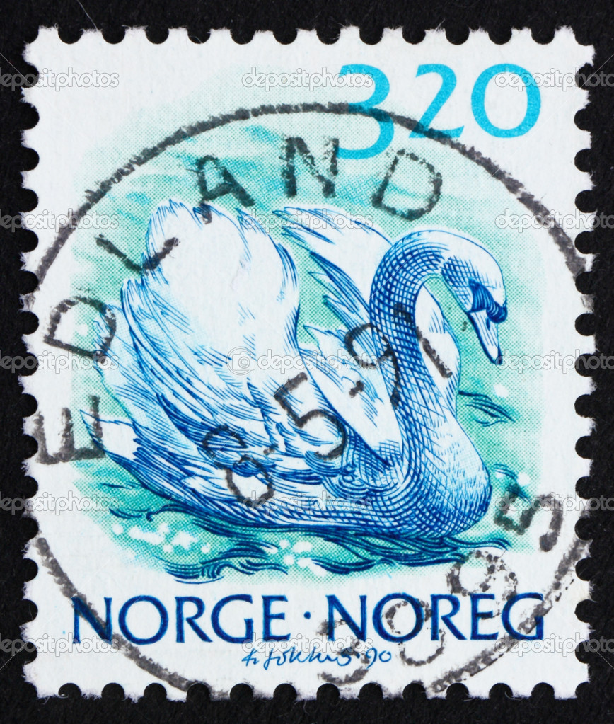 NORWAY - CIRCA 1990: a stamp printed in the Norway shows Mute swan, Cygnus Olor, circa 1990 — Stock Photo #10469592