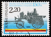Postage stamp Finland 1988 Horse-Drawn, Steam-Driven Fire Pump f — Stock Photo