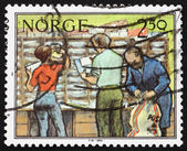 Postage stamp Norway 1987 Sorting Letters, Postal Service — Stock Photo