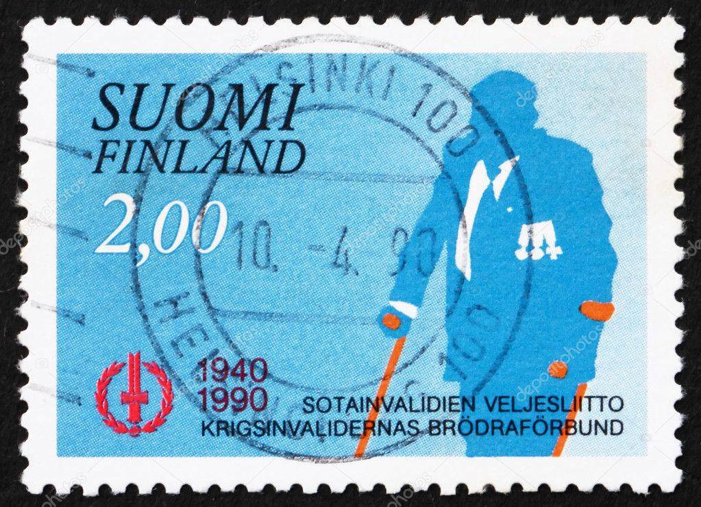 FINLAND - CIRCA 1990: a stamp printed in the Finland shows War Veteran, Disabled Veteran's Association, 50th Anniversary, circa 1990 — Stock Photo #10473226