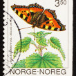 Postage stamp Norway 1993 Small Tortoiseshell, Aglais Urticae, B - Stock Photo