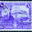 Postage stamp Italy 1939 Steam Engine and Electric Engine — Stock Photo