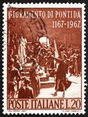 почтовая марка италии 1967 показывает присягу pontida, адольфо цао — Стоковое фото