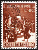 Postage stamp Italy 1967 shows Oath of Pontida, by Adolfo Cao — Zdjęcie stockowe