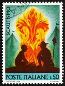 Postage stamp Italy 1968 shows Scouts at Campfire — Foto de Stock