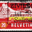Foto de Stock  : Postage stamp Switzerland 1953 Alpine Post Bus, Summer Backgroun