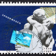 Stock Photo: Postage stamp Netherlands 1989 Sculpture of Passengers