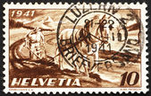 Postage stamp Switzerland 1941 Farmer Plowing — Stock Photo