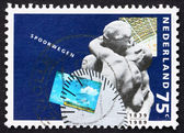 Postage stamp Netherlands 1989 Sculpture of Passengers — Zdjęcie stockowe