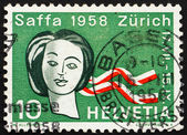 Postage stamp Switzerland 1958 Woman's Head, Women's Suffrage — Stock Photo