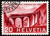 Viaducto de estampilla suiza 1963 luegelkinn, lotschberg ra — Foto de Stock