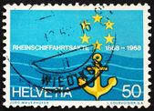Postage stamp Switzerland 1968 Flag of Rhine Navigation Committe — Stock Photo