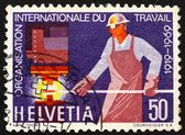 Postage stamp Switzerland 1969 Steelworker, 50th anniversary of — Stock Photo
