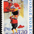 Postage stamp Norway 1992 Two Elf's mailing Letters — Stock Photo