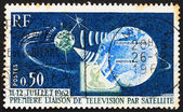 Postage stamp France 1962 Telstar, Earth and Television — Stock Photo