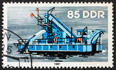 Postage stamp GDR 1981 Bucket Dredger, River Boat — Stock Photo