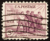 Postage stamp USA 1933 Group of workers — Stock Photo